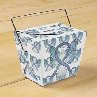Gray Angel Awareness Ribbon Take Out Favor Boxes