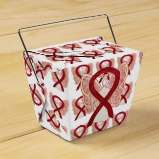 Burgundy Awareness Ribbon Take Out Favor Boxes