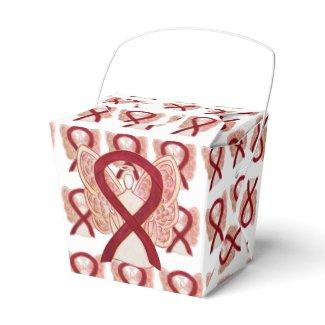Burgundy Awareness Ribbon Take Out Favor Boxes