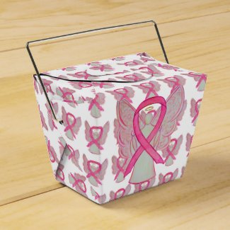 Pink Awareness Ribbon Angel Take Out Favor Boxes