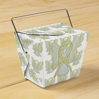 Yellow Awareness Ribbon Angel Take Out Favor Boxes