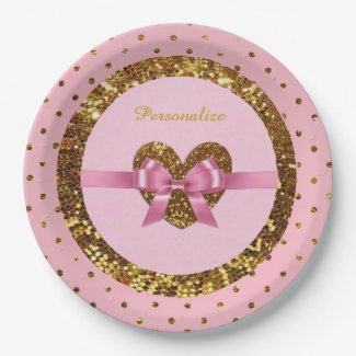 Pink & Gold Glitter Personalized Paper Plates