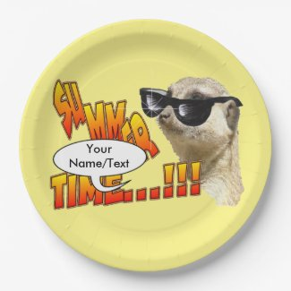 Summer Time Meerkat Customizable Paper Plates
