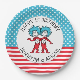 Thing 1 Thing 2 | Twins Birthday Paper Plate
