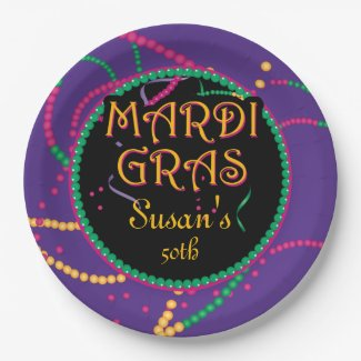 Mardi Gras, Carnival Party 9 Inch Paper Plate
