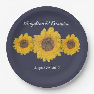 sunflower trio no3 for weddings paper plate