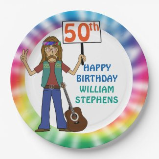 Old Hippie Hippy Tie Dye 70th Birthday Party Paper Plate