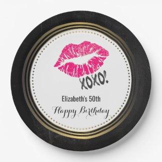 Stylish Pink Kissy Lips with xoxo! Happy Birthday Paper Plate