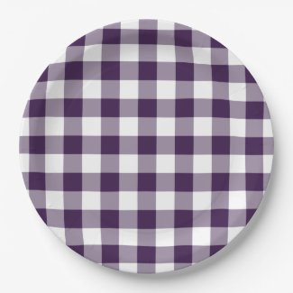 Purple and White Gingham Pattern Paper Plate