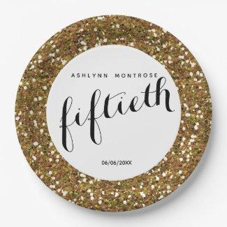 Gold Glitter 13th Birthday Paper Plate