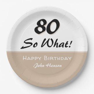 70th Birthday Funny Saying Beige Modern Paper Plat