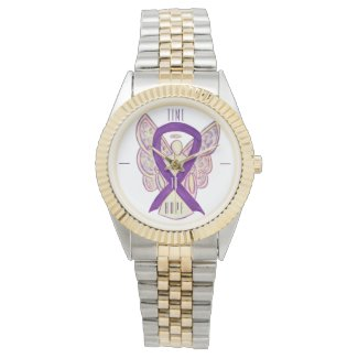 Time to Hope Purple Awareness Ribbon Angel Watch