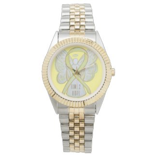 Time to Hope Yellow Awareness Ribbon Angel Watches