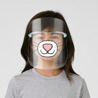 Cute Cat Cartoon Face Mouth Personalize Face Shiel