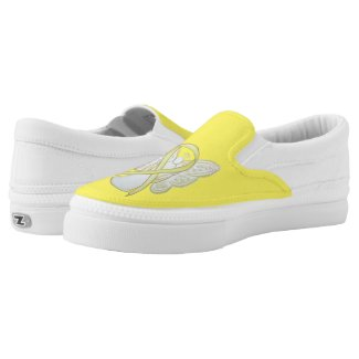 Yellow Awareness Ribbon Angel Custom Art Shoes
