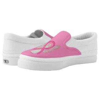 Pink Awareness Ribbon Angel Custom Shoes