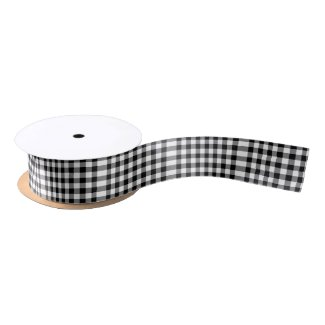 Black and White Gingham Pattern Ribbon