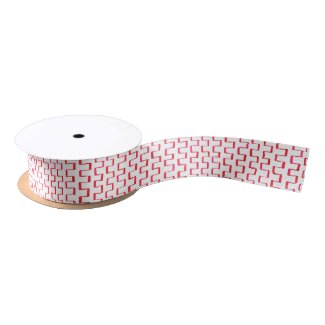 Painted Red Geometric Pattern Satin Ribbon