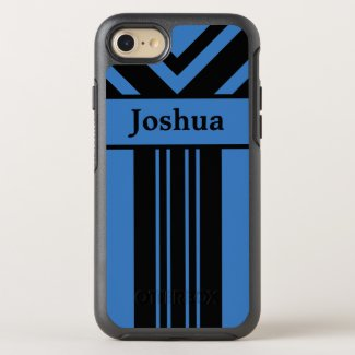 Black Stripes & Chevrons on Blue with Your Name OtterBox Symmetry iPhone 7 Case