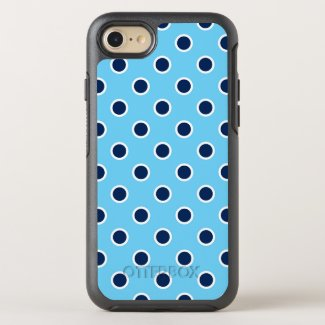 Playful Dark Blue Polka Dots on Light Blue OtterBox Symmetry iPhone 7 Case