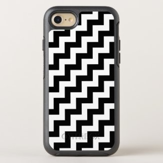 Bold Black and White Diagonal Zigzag Pattern OtterBox Symmetry iPhone 7 Case
