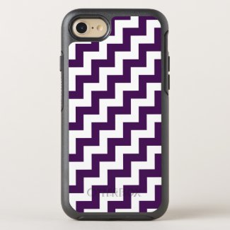 Eye-catching Purple and White Diagonal Zigzags OtterBox Symmetry iPhone 7 Case