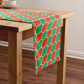 Red Green Christmas Diagonal Ogee Pattern Medium Table Runner