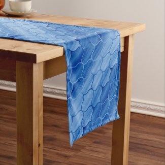 Modern Blue Diagonal Ogee Pattern Medium Table Runner
