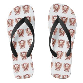 Head/Neck Cancer Awareness Ribbon Angel Flip Flops