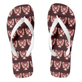 Burgundy Awareness Ribbon Angel Custom Flip Flops