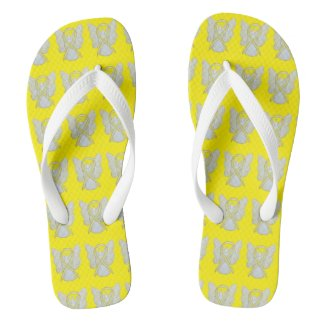 Yellow Awareness Ribbon Angel Custom Flip Flops