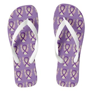 Purple Awareness Ribbon Angel Custom Flip Flops