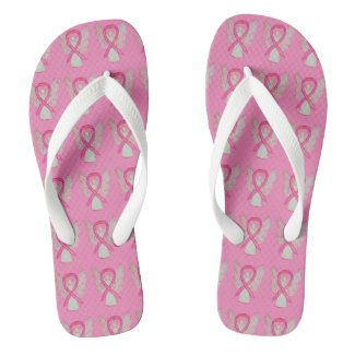 Pink Awareness Ribbon Angel Custom Flip Flops