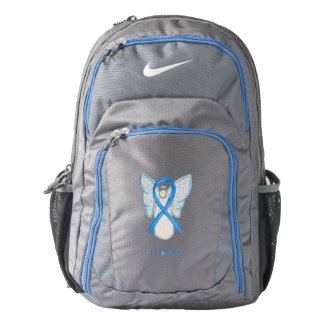 Light Blue Awareness Ribbon Angel Backpack