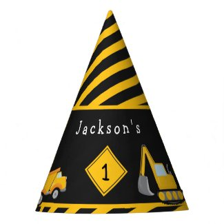 Construction Happy Birthday - Name and Age Boy Party Hat