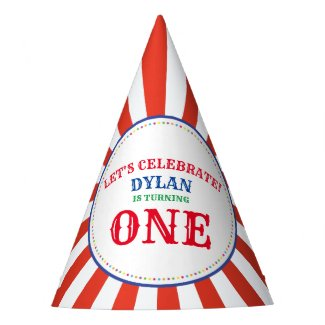 Circus Cute Colorful 1st Birthday Party Theme Party Hat