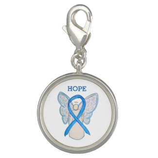 Light Blue Awareness Ribbon Angel Charm Bracelet