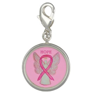 Pink Awareness Ribbon Angel Charm Bracelet Jewelry