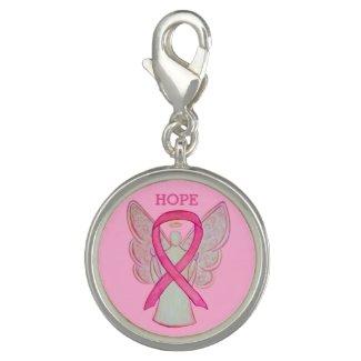 Pink Awareness Ribbon Angel Charm Bracelet Jewelry