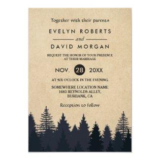 Rustic Pine Tree Wedding Invitation