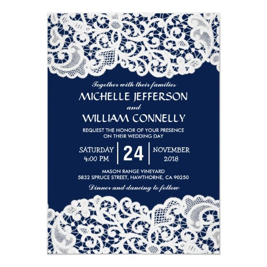 Rustic Navy Blue Wedding Invitations with White Lace