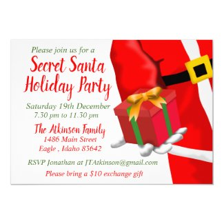 Secret Santa Christmas Holiday Gift Exchange Party Invitation