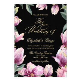Floral Purple Black and Gold wedding Invitations