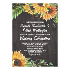 Sunflower Watercolor Country Wedding Invitations