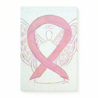 Pink Awareness Ribbon Angel Custom Sticky Notes