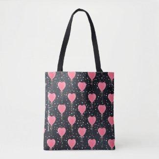 Romantic Watercolor Pink Hearts Balloons Confetti