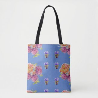 Pink Roses Floral flowers Birthday Girls Bag Blue