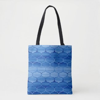 Lovely Blue Watercolor Ogee Pattern Tote Bag