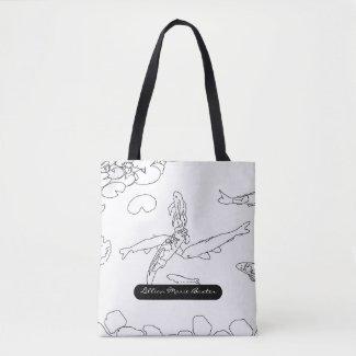 Koi Fish Sketch Monogrammed All Over Print Totebag Tote Bag