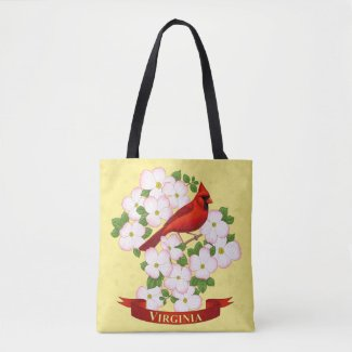 Virginia State Cardinal Bird and Dogwood Flower Tote Bag